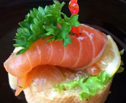 delicious snacks with red caviar