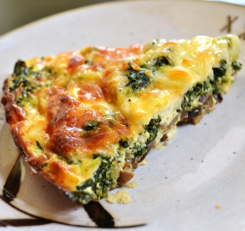 Oven Baked Spinach and Mushroom Tart