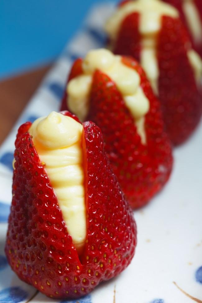 Cream-Stuffed Strawberries