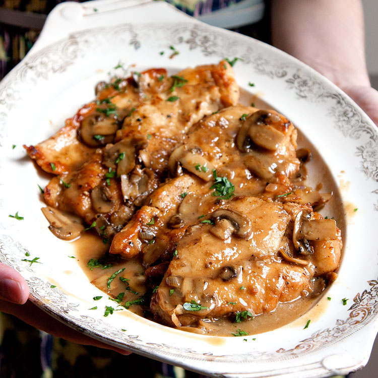 Oven Baked Tarragon Chicken with Celery and Mushrooms